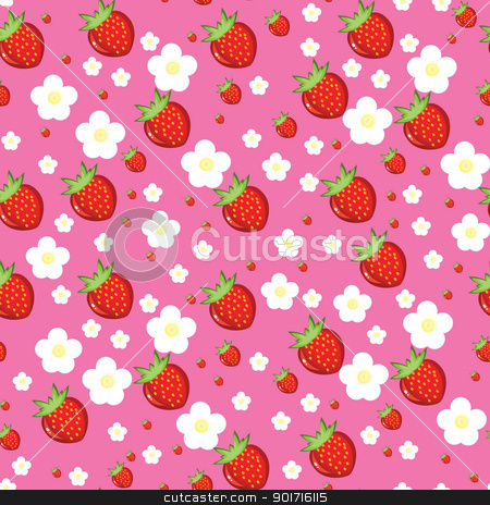 Seamless texture of strawberries stock photo, Seamless texture of red strawberries. Illustration on pink background by dvarg