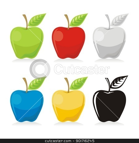 Apple icons stock vector clipart, Apple with leaf icon in colored versions isolated on white background. by fractal.gr