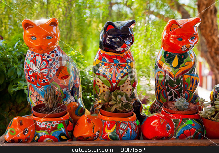 Mexican Colorful Souvenir Ceramic Cats Cactus Pots San Diego Cal stock photo, Meixan Colorful Souvenir Ceramic Cats Cactus Pots San Diego California  by William Perry