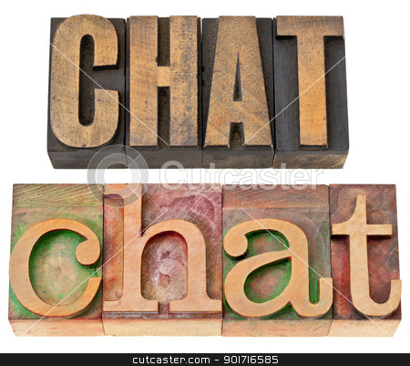 chat word in letterpress wood type stock photo, chat - internet social media concept - isolated word in vintage letterpress wood type, two layout in different fonts by Marek Uliasz
