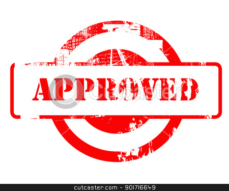 Approved red stamp stock photo, Approved red stamp with copy space isolated on white background. by Martin Crowdy
