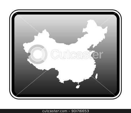 China map on computer tablet stock photo, China map on modern computer tablet, isolated on white background. by Martin Crowdy
