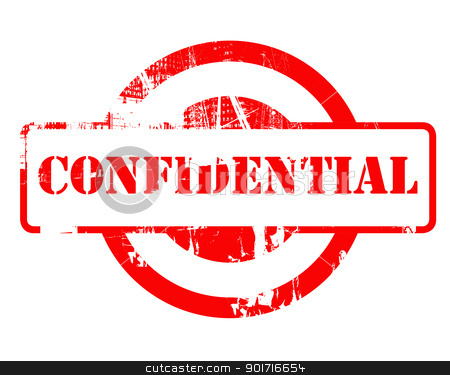 Confidential red stamp stock photo, Confidential red stamp with copy space isolated on white background. by Martin Crowdy
