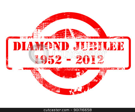 Diamond Jubilee stamp stock photo, Diamond Jubilee stamp for Queen Elizabeth II after 60 years on the throne, concept. 1952-2012. by Martin Crowdy