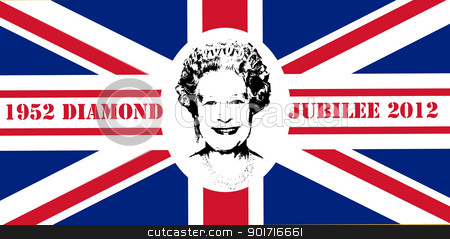 Diamond Jubilee Union Jack flag stock photo, Diamond Jubilee Union Jack flag to celebrate Queen Elizabeth II with 60 years on the throne. by Martin Crowdy