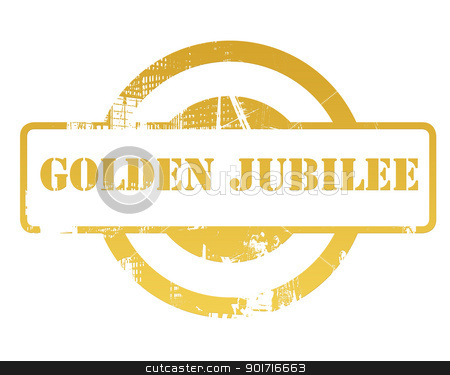 Golden jubilee stamp stock photo, Golden jubilee stamp isolated on white background. by Martin Crowdy