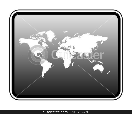 World map on computer tablet stock photo, World map on modern computer tablet, isolated on white background. by Martin Crowdy