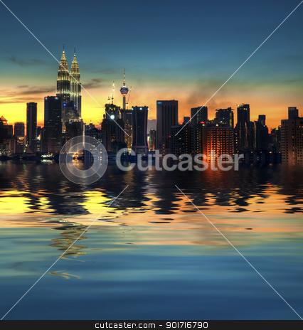 Kuala Lumpur City stock photo, Kuala Lumpur, the capital city of Malaysia, view with water reflection by szefei