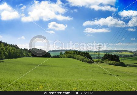 summer landscape with green field stock photo, summer landscape with green field and blue sky by Artush
