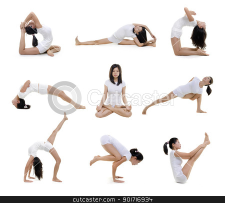 Yoga position stock photo, Collection of woman in yoga on white background by szefei