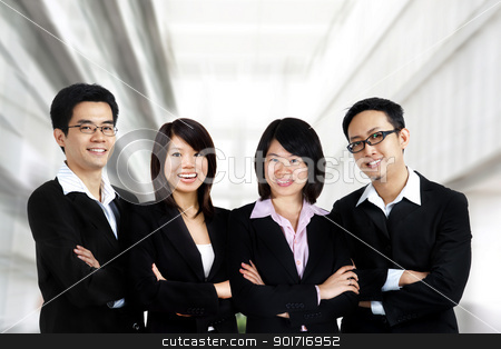 Business team stock photo, Asian business team on office background by szefei