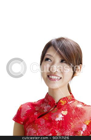 Oriental beauty stock photo, Oriental beauty looking up on white background. by szefei
