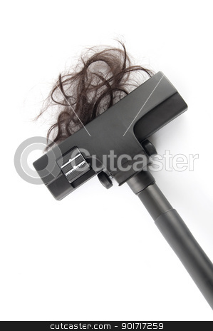 Hair fall stock photo, Vacuum cleaning fall hair on white background by szefei