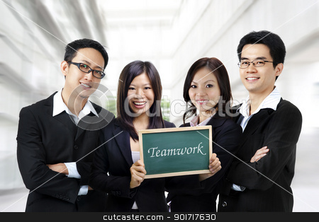 Teamwork stock photo, Asian business team on office background, blackboard on hand. by szefei