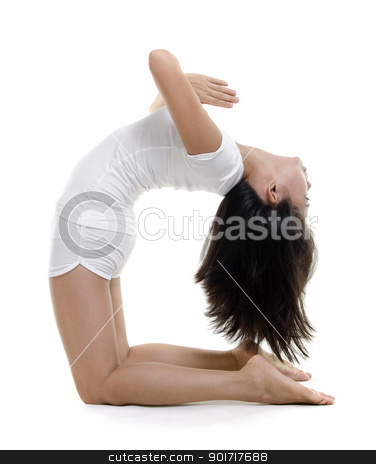 Yoga Posture stock photo, Woman in yoga, Camel Posture (Ustrasana), on white background by szefei