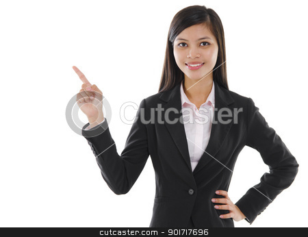 Text here stock photo, Young mixed race pan asian business woman pointing on empty space by szefei