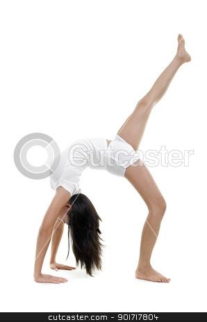 Yoga Posture stock photo, Woman in yoga, One Legged Upward Facing Bow Pose (Eka Pada Urdhva Dhanurasana), on white background by szefei