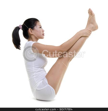 Yoga Posture stock photo, Woman in yoga, Double Toe Hold (Ubhaya Padanggusthasana), on white background by szefei
