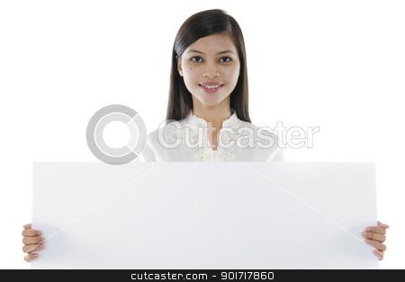 Blank board stock photo, Mixed race Asian woman holding a white board by szefei