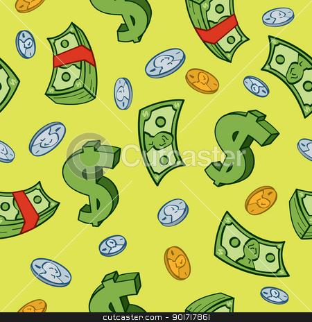 Seamless Cartoon Money Pattern stock vector clipart, Seamless cartoon money and dollar sign pattern. by Jamie Slavy