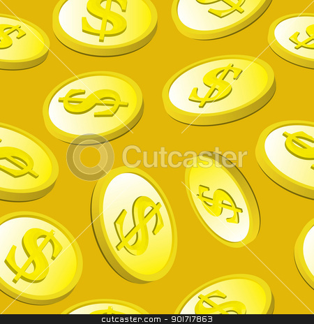 Seamless Gold Coin Pattern stock vector clipart, Seamless pattern of shiny gold coins falling with a gold background. by Jamie Slavy