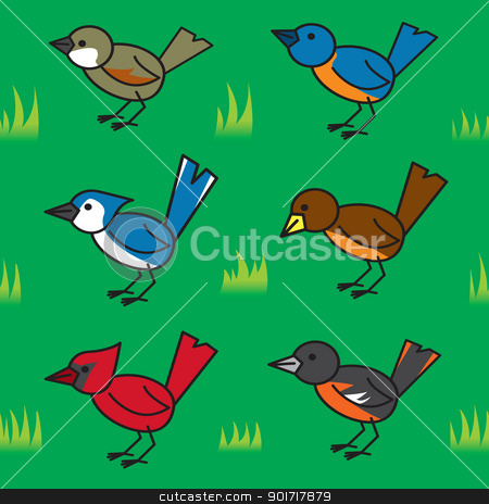 Seamless Cartoon Birds Pattern stock vector clipart, A seamless pattern of some common cartoon north american birds on a lawn. by Jamie Slavy