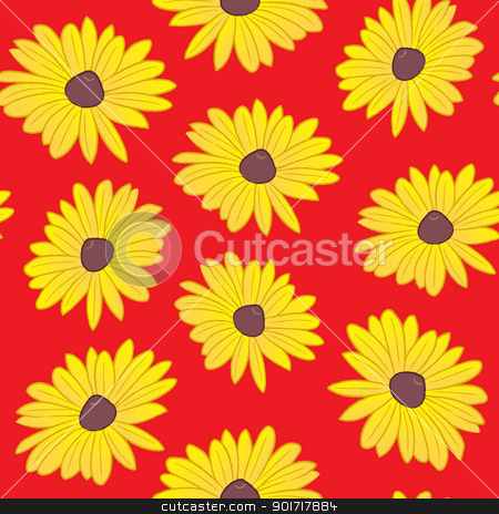 Seamless Black Eyed Susan Pattern stock vector clipart, A seamless pattern of black eyed susan flowers on a red background. The color scheme is red and yellow, which are the dominant colors of the maryland flag. The black eyed susan is the state flower of Maryland. by Jamie Slavy