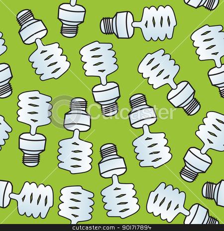 Seamless Cartoon CF Bulbs stock vector clipart, A seamless pattern of compact florescent light bulbs. by Jamie Slavy