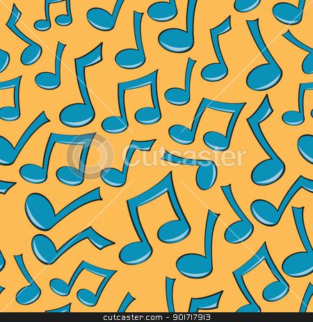 Seamless Music Note Pattern stock vector clipart, A seamless pattern of fun blue music notes. by Jamie Slavy