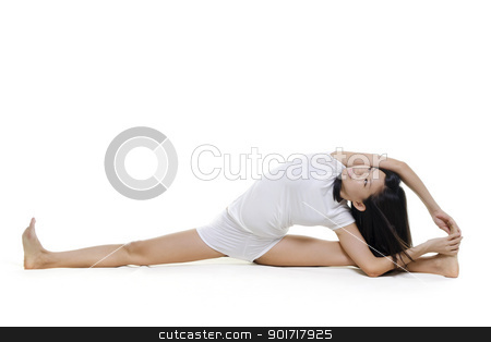 Yoga Posture stock photo, Woman in yoga, Seated Side Stretch Sequence (Parsva Upavista Konasana), on white background by szefei