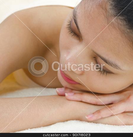 Spa massage stock photo, Beautiful Asian Girl having a back massage by szefei