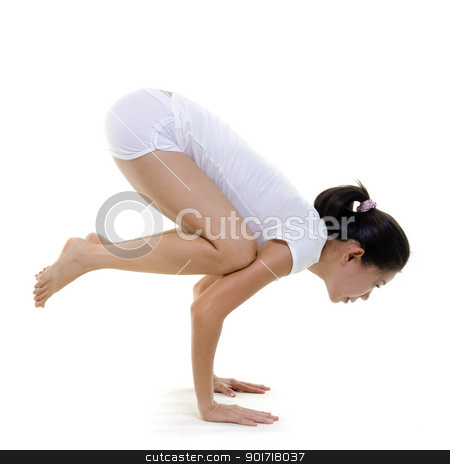 Yoga Posture stock photo, Woman in yoga, Crane Posture (Bakasana), on white background by szefei
