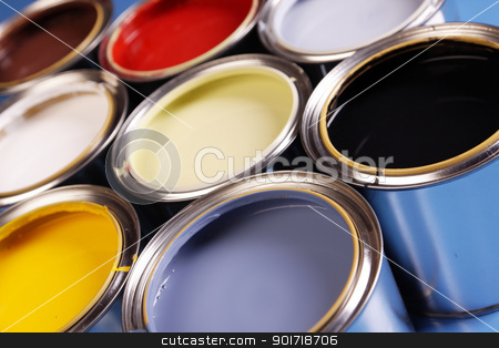 Paint cans stock photo, paint cans and brushes! by fikmik