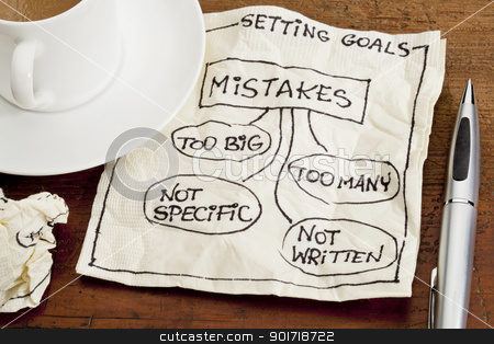 mistakes in setting goals on napkin stock photo, common mistakes in setting goals (too many, too big, not specific, not written) - a sketch drawing on a cocktail napkin with a coffee cup by Marek Uliasz