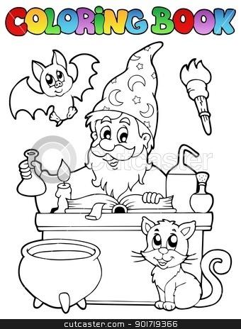 Coloring book alchemist theme 1 stock vector clipart, Coloring book alchemist theme 1 - vector illustration. by Klara Viskova