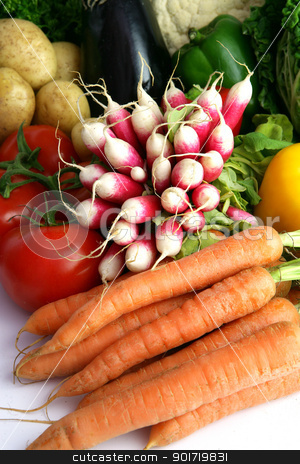 Radishes and other vegetables stock photo, Radishes and other vegetables by photography33