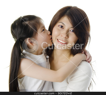 I love you mummy! stock photo, Happy Asian daughter kissing her mother on white background by szefei