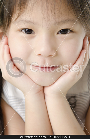 Asian girl stock photo, Close-up shot of a young Asian girl with smile on her face. by szefei
