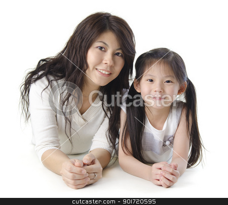 Mother and me stock photo, Asian mother and her daughter on white background by szefei