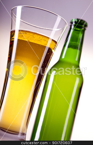 Chilled beer on white background stock photo, Chilled beer on white background by fikmik