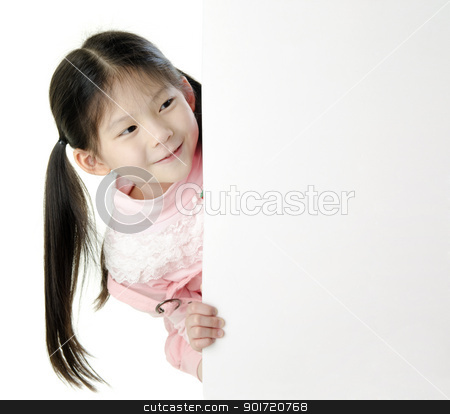 Kids Message stock photo, Young Asian girl holding a blank white card. by szefei