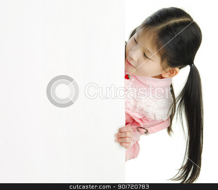Blank space stock photo, Little pan asian girl looking at white blank card by szefei