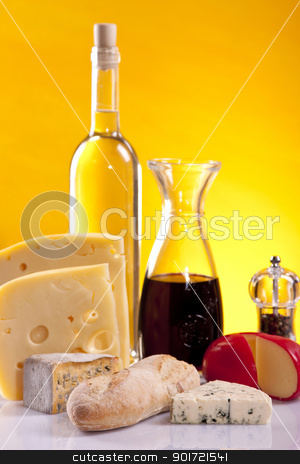 Cheese and wine composition stock photo, Cheese and wine composition by fikmik
