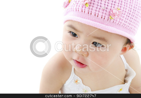 Adorable baby girl stock photo, Adorable pan asian baby girl on white background by szefei