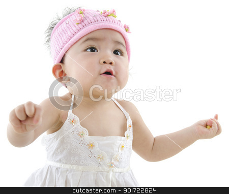 Happy baby girl stock photo, Happy 10 month old pan asian baby girl in pink flower hat by szefei