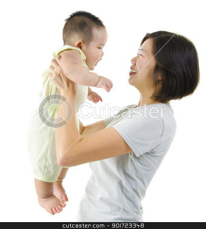 Parenting stock photo, Asian mother playing with her baby boy by szefei