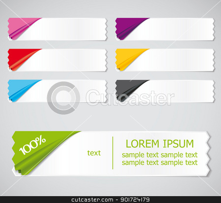 stickers stock vector clipart, Vector set of colored stickers, ribbons options for different samples by Miroslava Hlavacova
