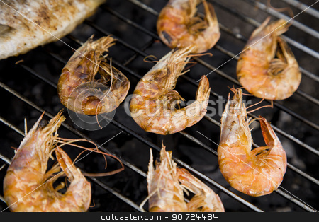 Seafood on grill stock photo, Seafood on grill by fikmik