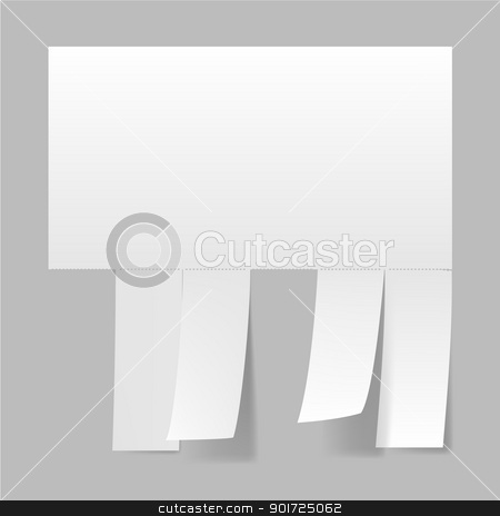 Blank advertisement  stock photo, Blank advertisement with cut slips. Illustration on white by dvarg