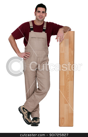 Man with wooden flooring stock photo, Man with wooden flooring by photography33